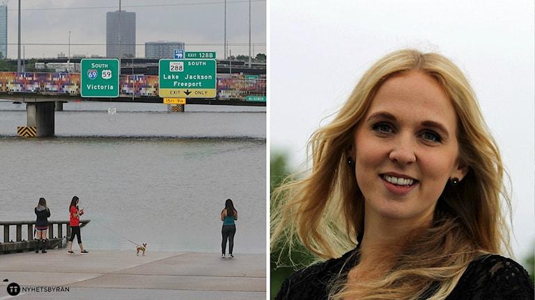 En montagebild på översvämningarna i Houston och Noomi Thorstensson.