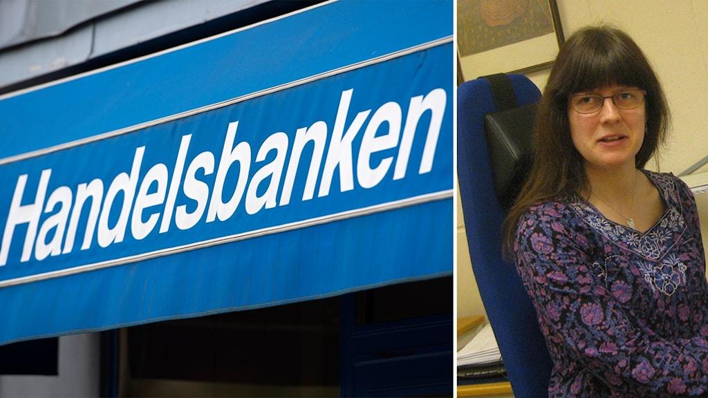 En blåvit markis det står Handelsbanken på och en kvinna med mörkt hår och glasögon.
