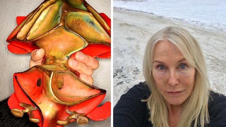 En hand håller i en Guldbagge. En bild på Petra Cabbe.