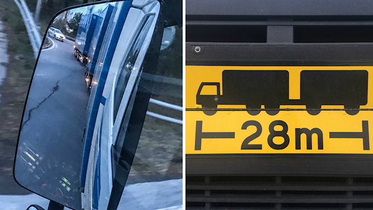 En delad bild av lastbilen sedd i backspegel och varningsskylt.