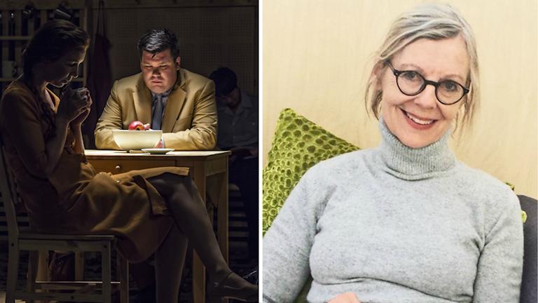 """En delad bild på en scen ur """"Den sista elden"""" där en man och en kvinna sitter tysta vid ett bord och Ulla Strängberg."""