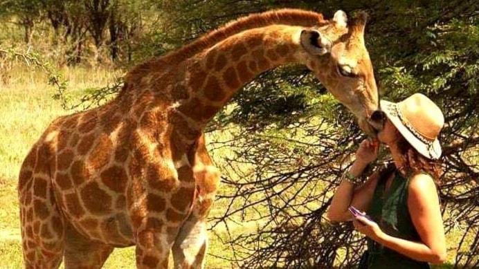 Filippa Söderberg Hertzberg och hennes giraff.