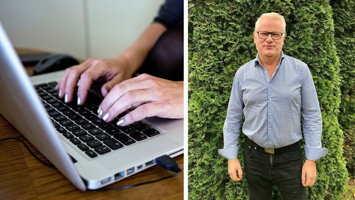 Kollage med en bild på dator och Lennart Jarl från Jönköping Energi.