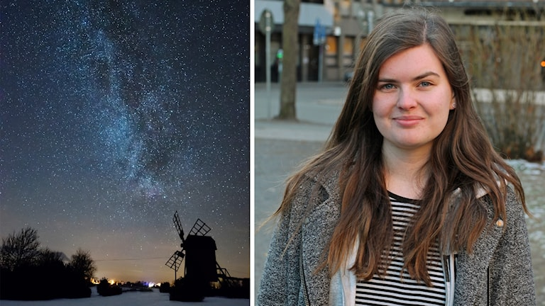 En bild på en stjärnhimmel och en bild på Anna Olsson.