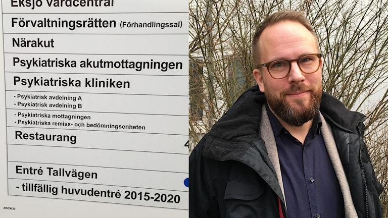 En bild på en skylt som visar till psykiatriska avdelningen, och en bild på Erik Nilzén, chefsöverläkare för tvångsvård på psykiatriska kliniken i Eksjö.