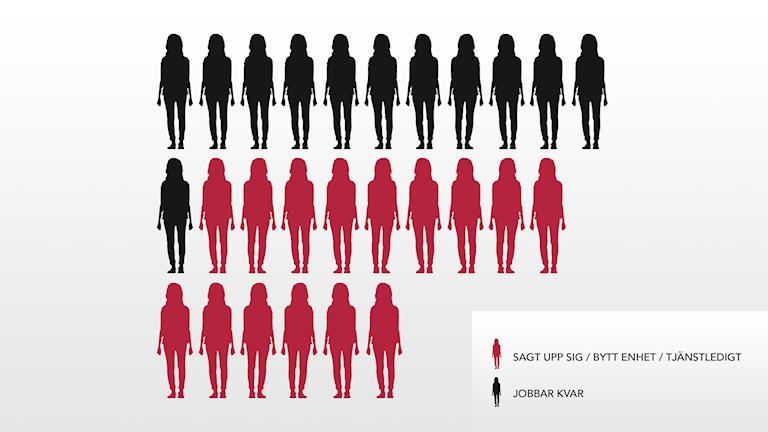 Totalt är det 15 personer av 27 i den ordinarie personalstyrkan som sagt upp sig, bytt enhet eller tagit tjänstledigt det senaste året.
