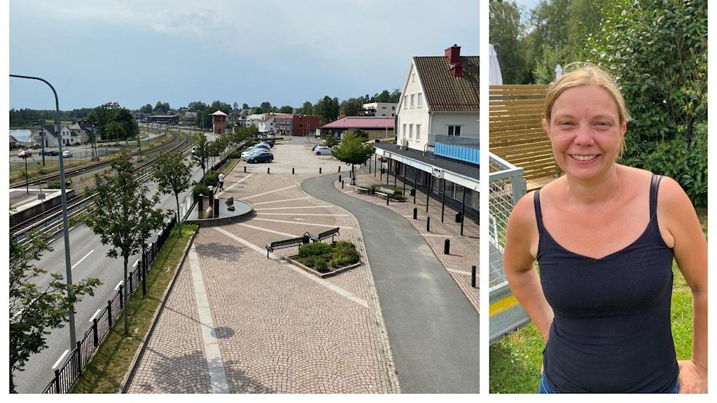 Vy över Mullsjö och bild på kommunstyrelsens ordförande Linda Danielsson.
