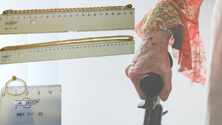 En äldre kvinnas hand håller i en krycka. Bilder på guldkedja, guldarmband och guldring från polisens förundersökning.