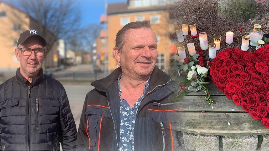 Två män och ett hjärta av rosor