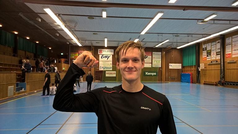 Hallbys målvakt Johan Persson var riktigt bra i målet denna kväll.