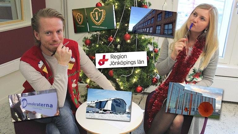 Oskar och Therese sitter vid en julgran. Inklippta bilder på olika platser och logotyper finns på bilden.