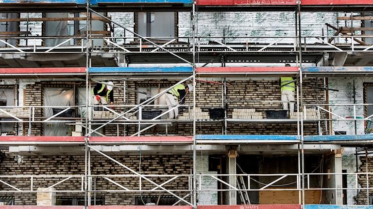 Bostadsbygge, snickare står på byggnadsställningar och arbetar med fasaden.