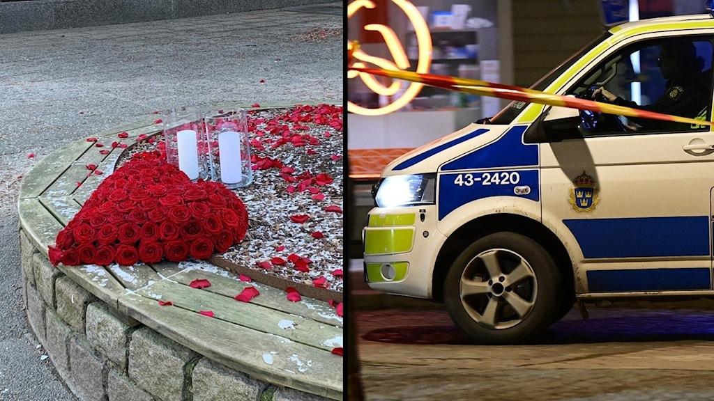 Rosor och polisbil