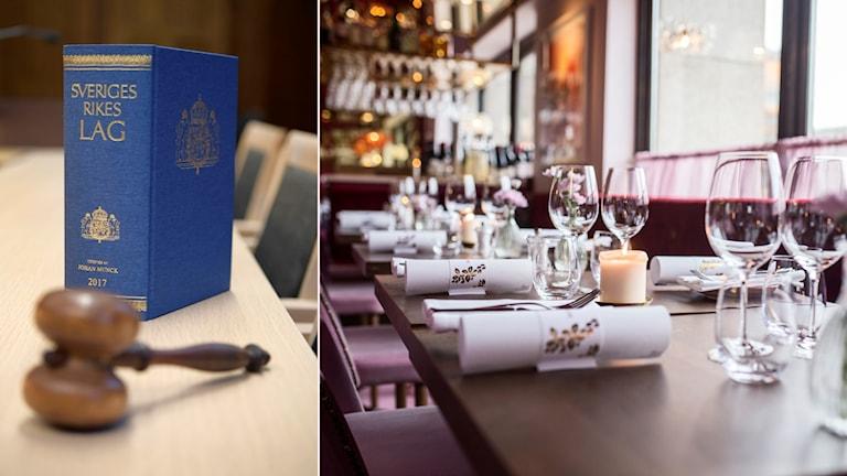 Lagbok och interiör från anonym restaurang.