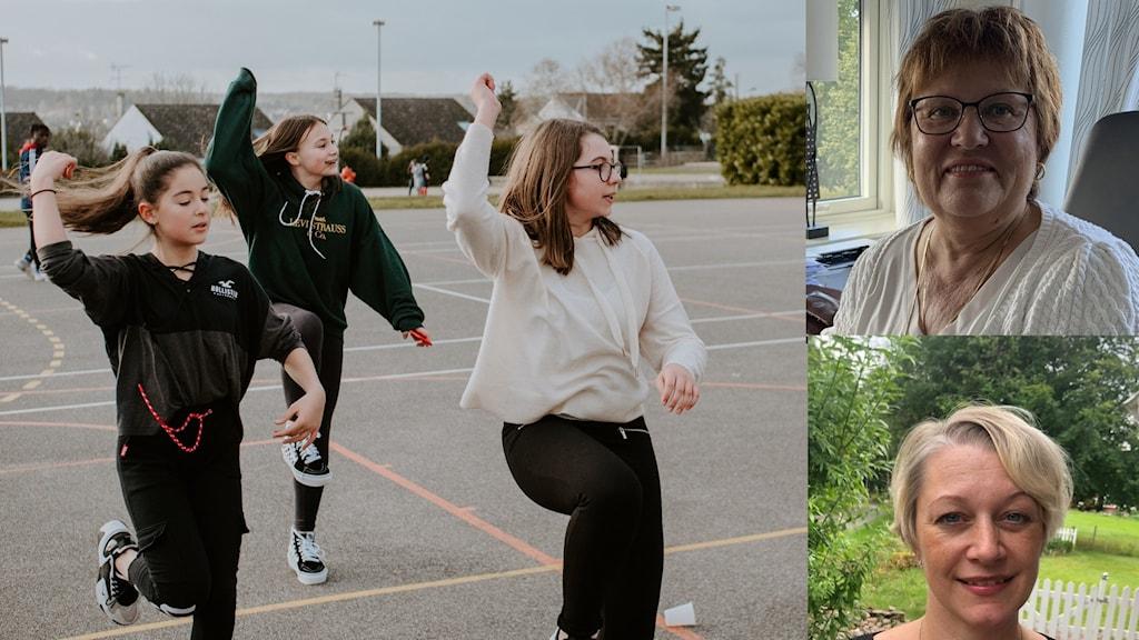 Tre tjejer dansar, och till höger infällda bilder av två kvinnor.