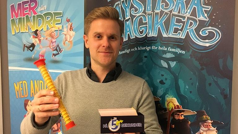 Henrik Tistling som designar spel på Användbart Litet Företag.