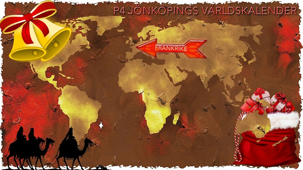 Världskarta med juldekorationer