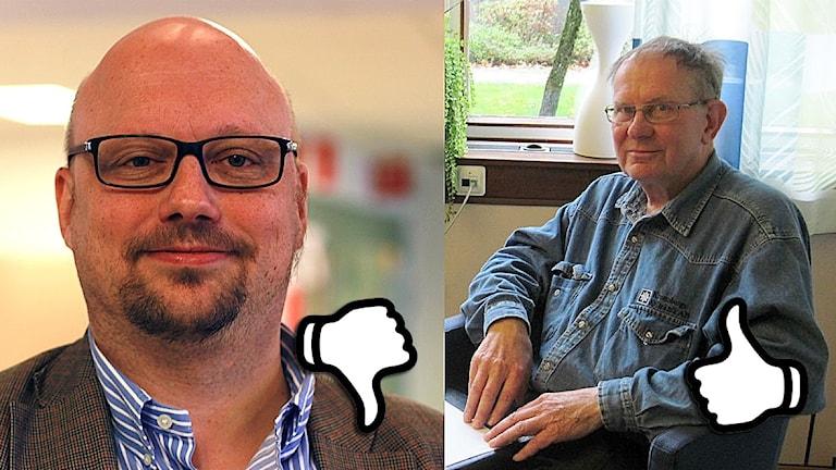 Niclas Palmgren och Arne Ekegren. Foto: arkivbilder/Jonatan Nilsson/Karin Malmsten/Sveriges Radio.