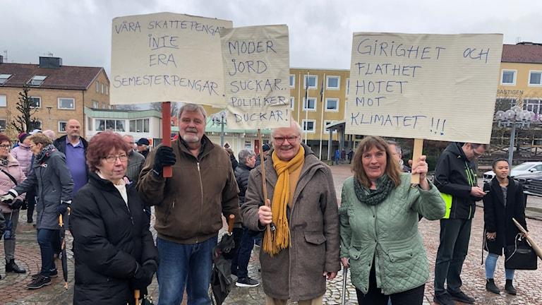 Demonstration mot Brysselresa i Gislaved. Foto: Emma Johansson/Sveriges Radio.