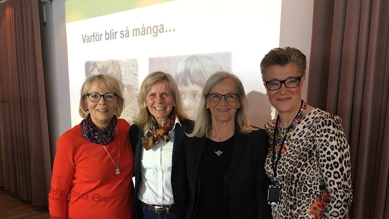 Marianne Hennix, grundaren av nätverket Henrietta, föreläsaren Lotta Larsdotter, Karin Oldeaus och Carina Remnemark. Fyra Pippior?