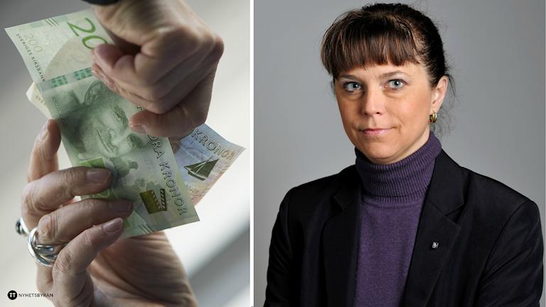En delad bild av en hand som lämnar över pengar till en annan och Emma Carlsson Löfdahl.