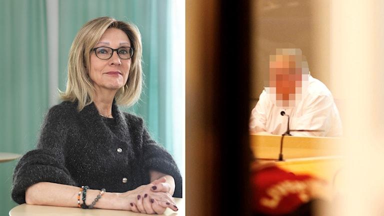 En bild på Marianne Kristiansson och en blid på en man i en rättssal. Mannens ansikte är blurrat.