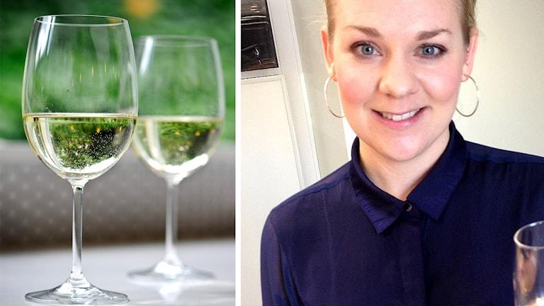 Vinglas med vitt vin och en bild på Lisa Melin.