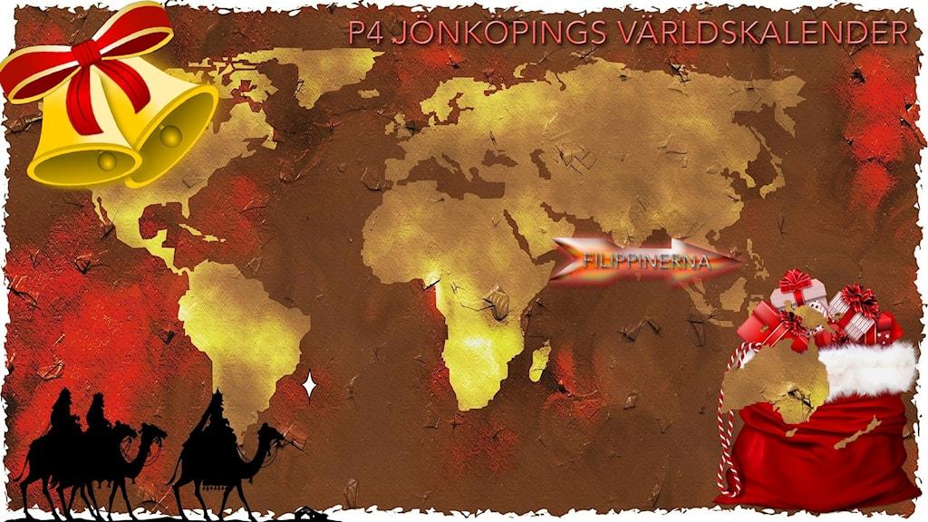 Julpyntad världskarta med pil som pekar mot Filippinerna.