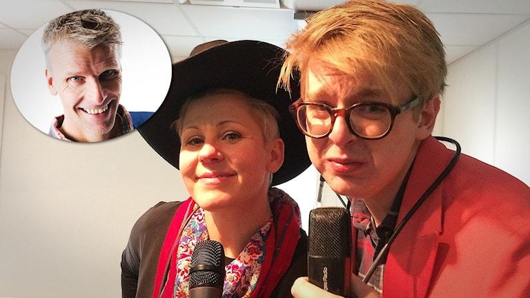 Sanna och Malte med mikrofoner. Infälld bild på Christian Olsson i övre hörnet.
