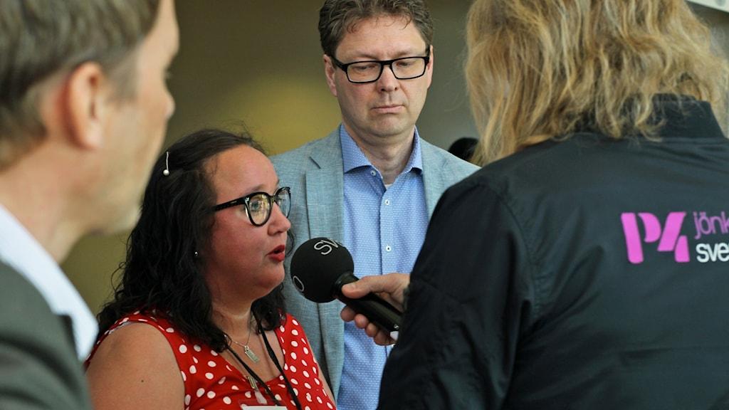Regiondebatt P4 Jönköping. Mia Frisk (KD) intervjuas.
