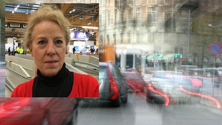 Sonja Forward inklippt i en bild på en stressig trafiksituation. Foto: Lovisa Buvhammar/Sveriges Radio och Bertil Ericson/TT.