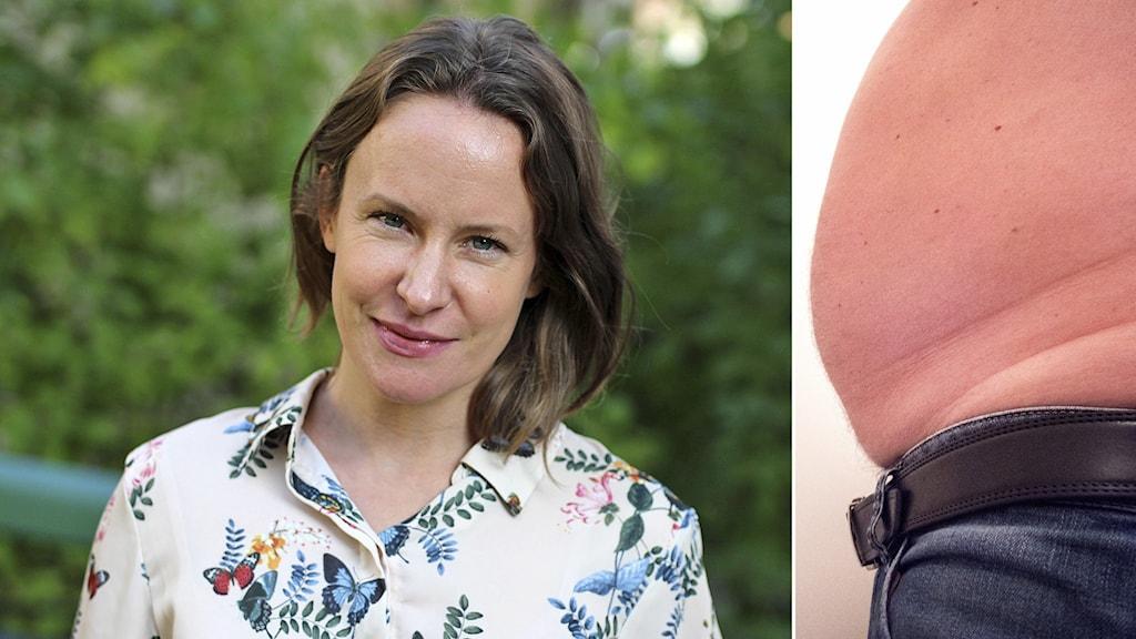 Delad bild, till vänster dietisten Anna Hamilton och till höger bild på mage med tydligt bukfetma.