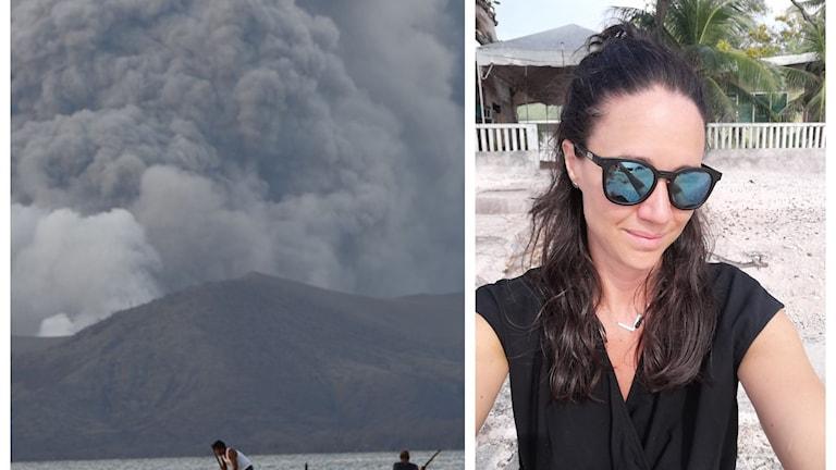 Bild på vulkanen taal med massor rök och en bild på Ida.