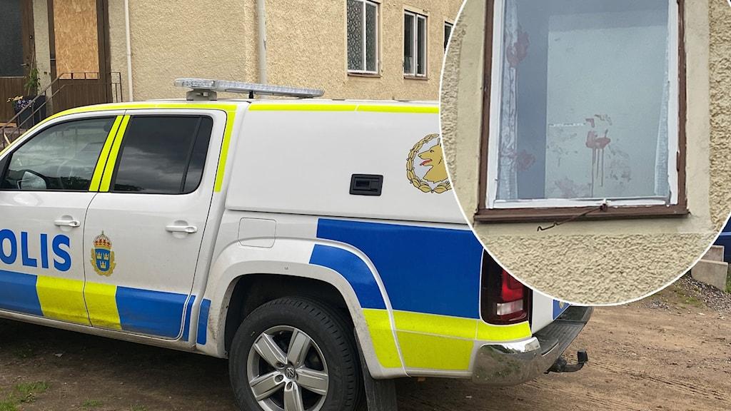 En polisbil och blodiga handavtryck på en fönsterruta