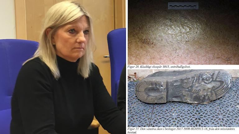 Polisen Gunilla Broman sitter i en stol. På bilden bredvid syns ett skoavtryck och undersidan på en sko.