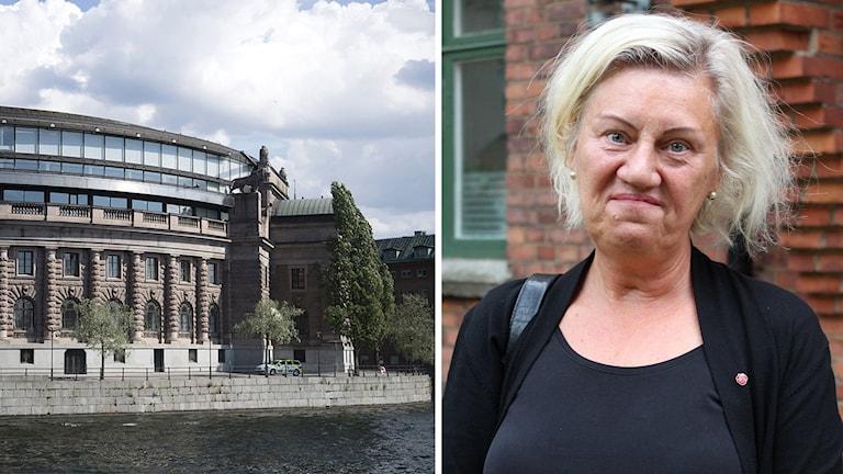 En bild på riksdagshuset och en bild på Carina Ödebrink.