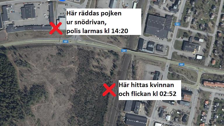 Karta över Sävsjö med markeringar där pojken hittades och där kvinnan och flickan låg i skogen.