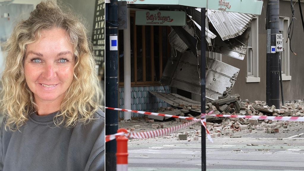 En kvinna och en rasad byggnad