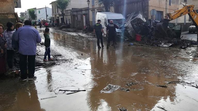 Översvämmade gator på Mallorca.