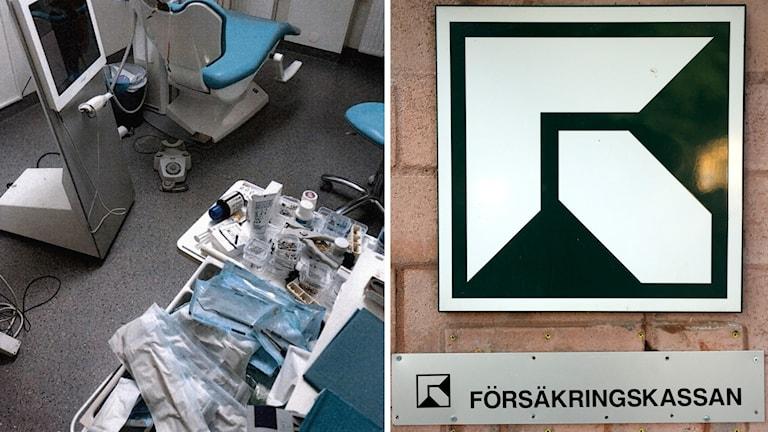 En bild från en stökig tandläkarklinik bredvid en bild på Försäkringskassans logga.
