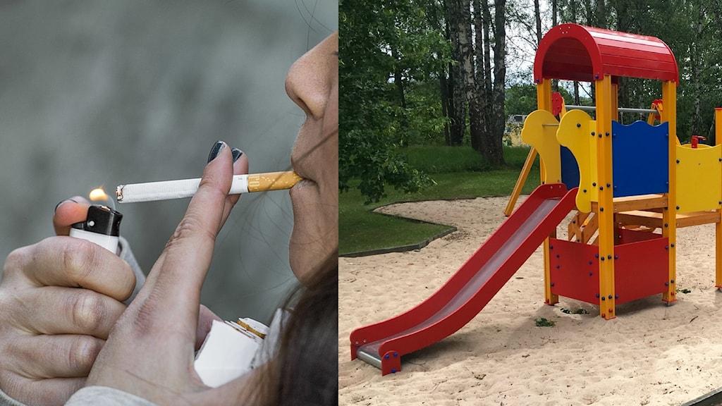 Ihopklippt bild på rökning och en lekplats.