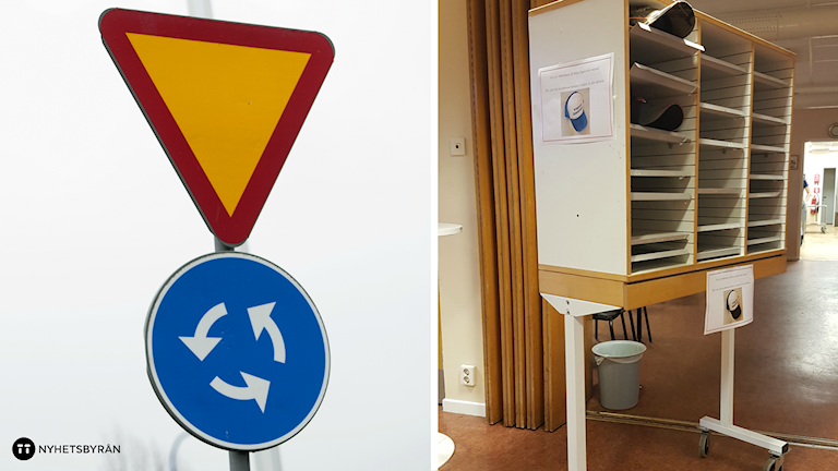 En delad bild på en varningsskylt för cirkulationsplats och skåpet med några kepsar i. Foto: Fredrik Sandberg/TT, Emilia Larsson.