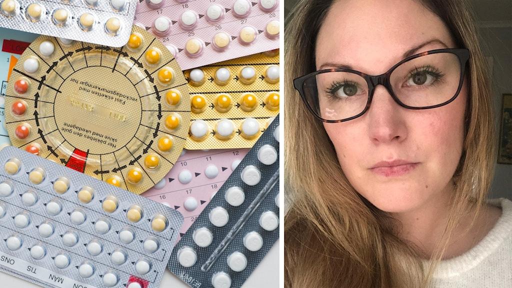 Kollage med olika p-piller och porträtt på kvinna.