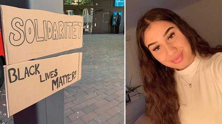 En skylt med texten solidaritet Black Lives matters till vänster och en mörkhårig kvinna som ler in i kameran till höger.