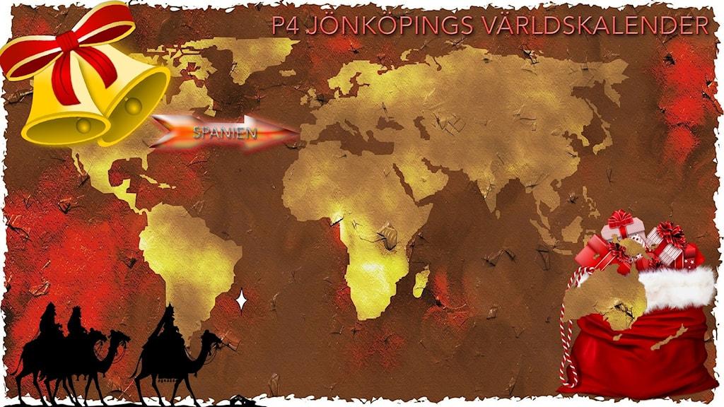 Julpyntad världskarta med pil som pekar på Spanien.