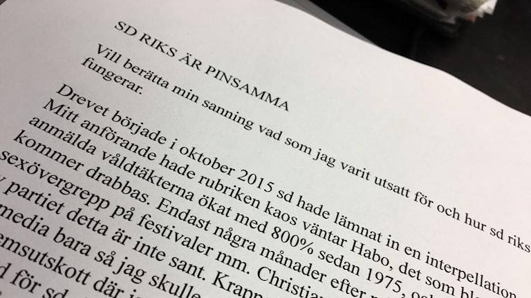 Morgan Malmborgs brev till P4 Jönköping