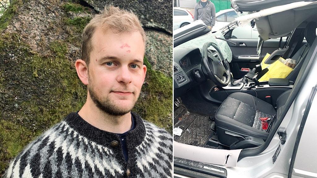 Delad bild, dels närbild på Marcus Steneloo dels interiörbild på hans kraftigt demolerade bil.