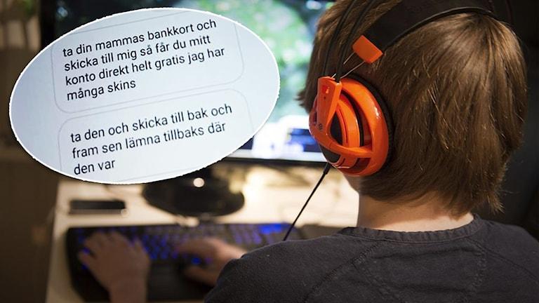 En pojke spelar datorspel. I en cirkel syns en skärmdump av ett meddelande där någon ber att få en bild på ett kontokort.