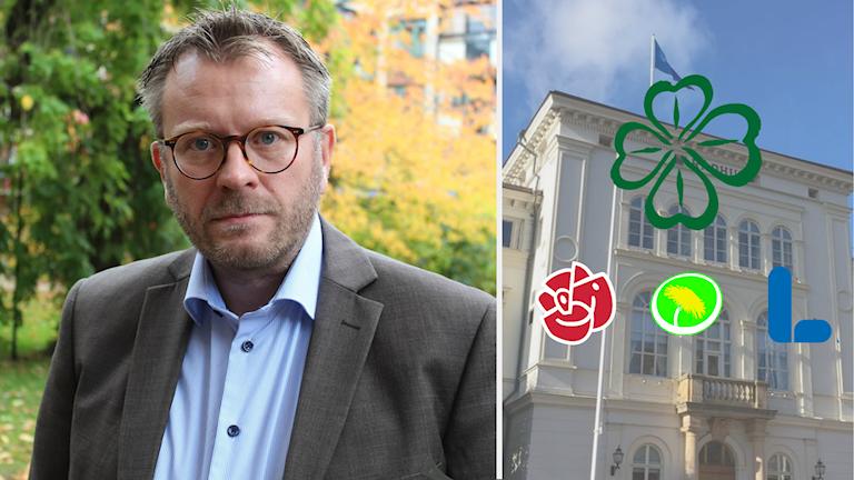 En delad bild av Andreas Sturesson och rådhuset i Jönköping med loggorna för Centerpartiet, Socialdemokraterna, Miljöpartiet och Liberalerna.