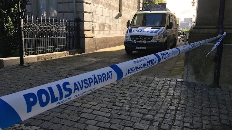Polisavspärrningar i Jönköping.